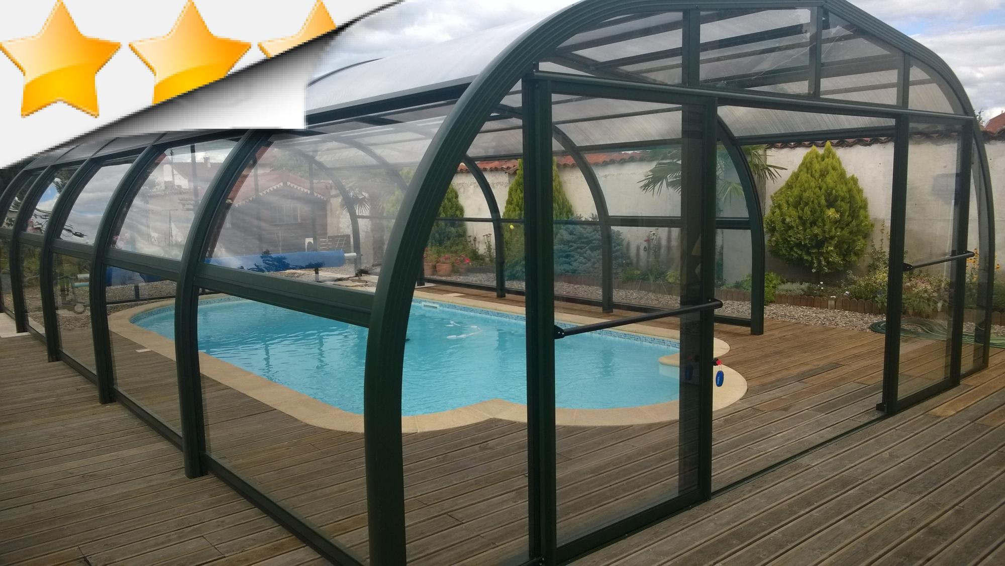 Nos abris aluminium haut apc france for Abri piscine bois