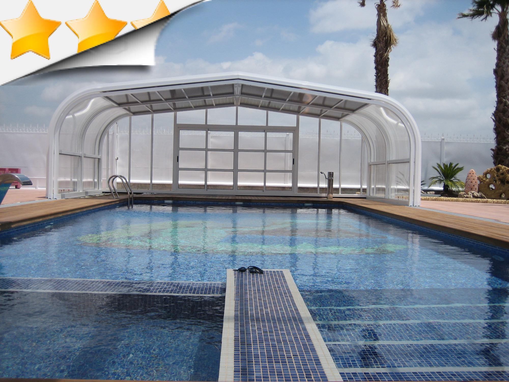 abri piscine t lescopique vlt abris alu par apc. Black Bedroom Furniture Sets. Home Design Ideas